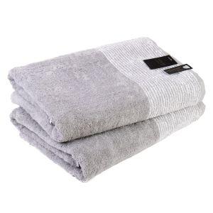 Махровое полотенце серого цвета Two-Tone (590-79) Cawo, Германия