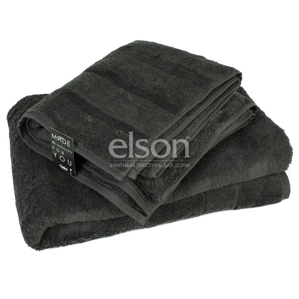 Однотонное махровое полотенце темно серого цвета Cawo Noblesse 2 (1002-774)