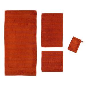 Полотенце махровое однотонное с велюровыми вставками красного цвета Noblesse (1002-213) Cawo, Германия. 100% египетский хлопок