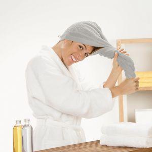 Полотенце на голову (тюрбан) Cawo (7073-775) серого цвета